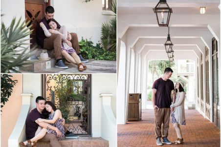 Couple standing under chandeliers and sitting on steps in Rosemary Beach, Florida.
